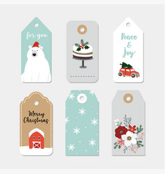 Vintage christmas gift tags set hand drawn labels vector