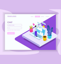 virtual communication isometric composition vector image