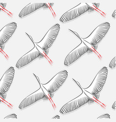 white stork pattern big flying bird vector image