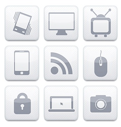 white technology app icon set Eps10 vector image