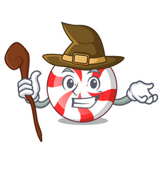 Witch peppermint candy mascot cartoon vector