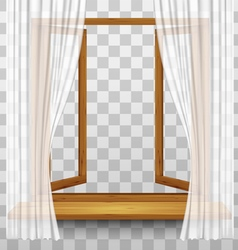 Wooden window frame with curtains on a transparent vector image