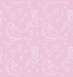 young woman in love line concept seamless pattern vector image