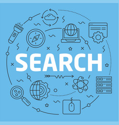 blue line flat circle search vector image vector image