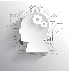 Human head with set of gears as a brain idea vector image vector image