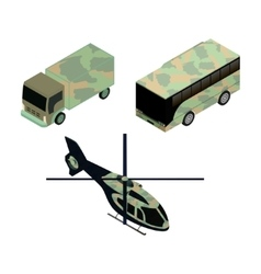 Isometric icons set of military vehicles vector image vector image