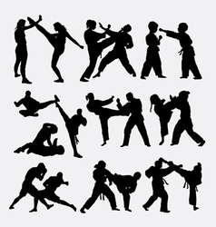 People fighting silhouette vector image vector image