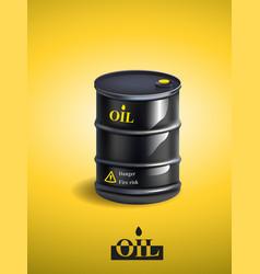 realistic black metal oil barrel vector image