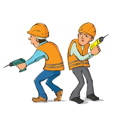 Two builders with drills vector image