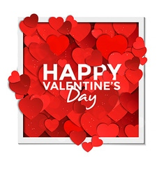 valentine card with paper hearts 2 vector image vector image