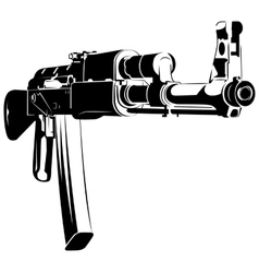 black and white machine gun ak vector image