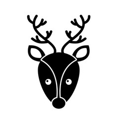 christmas reindeer head horned animal decoration vector image