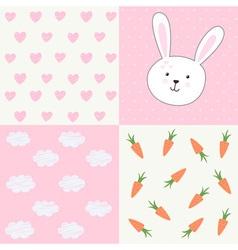 Cute baby shower pattern with rabbit vector image vector image