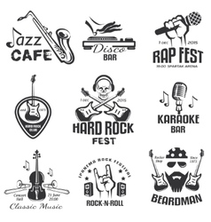 different music styles retro emblems and bages vector image