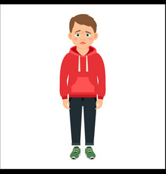 disappointed little boy in red hoodie vector image vector image