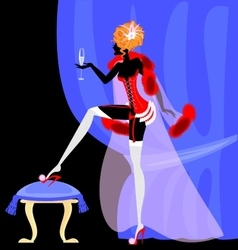 drinking lady in the corset vector image