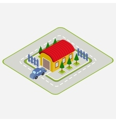 isometric car drives into garage vector image vector image