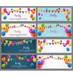 Party Background Baner Set with Flags and Balloons vector image