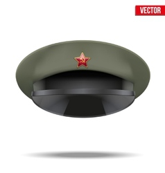 Russian Military officer peaked cap with red star vector image vector image