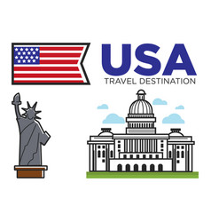 usa america travel landmarks and american culture vector image