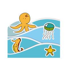 aquatic animals in the sea icon vector image vector image