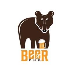 bear beer concept design template vector image