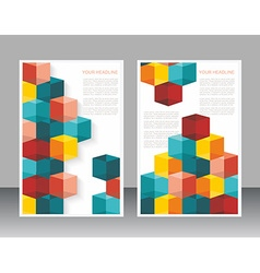 brochure template design with cubes and arrows vector image