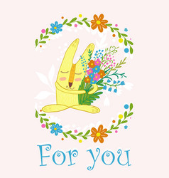 Cute bunny with flowers in a frame of flowerscute vector