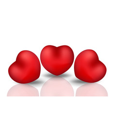 happy valentine s day realistic 3d heart red vector image vector image
