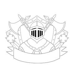 Medieval knight logo Contour vector image