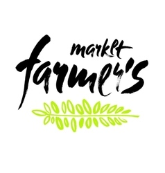 Farmers market hand lettering retro vintage style vector image vector image