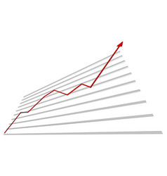 graph with red arrow up vector image vector image