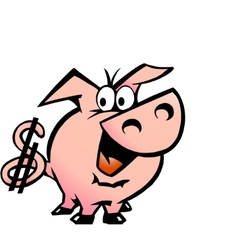 Hand-drawn of an Dollar Pig vector image