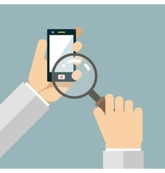 Mobile Phone Hands Magnifying Glass Search Icons vector image vector image