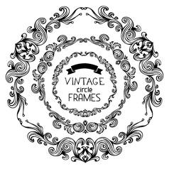 set of vintage round frames vector image