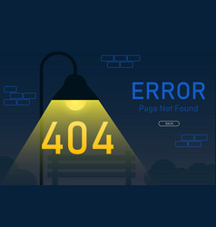 404 error page not found with lamp post graphic vector