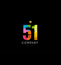 51 number grunge color rainbow numeral digit logo vector