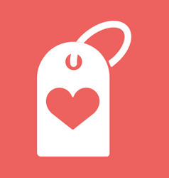 A heart icon with a shopping label vector