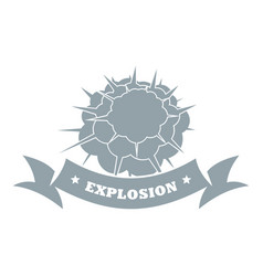 Atomic explosion logo simple gray style vector