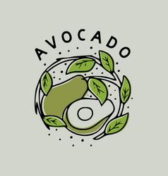 Avocado with leaf vintage hand drawn vector