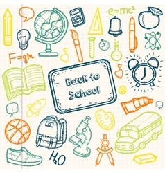 Back to School doodle set Hand draw school items vector image