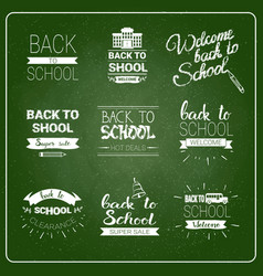 Back to school logos set chalked label collection vector