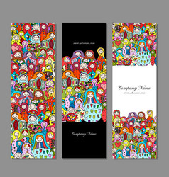 Banners set matryoshka russian nesting dolls vector