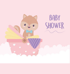 bashower squirrel in pram decoration vector image