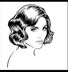 Beautiful brunette girl portrait vector