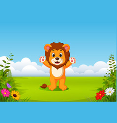 beautiful view with the little lion vector image