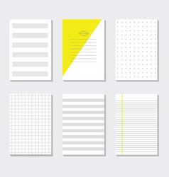 Blank assorted lined paper sheets anempty note set vector