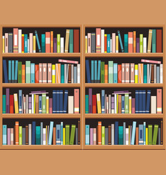 Bookshelve with books background library vector