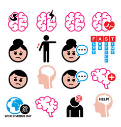 brain stroke health medical icons set vector image