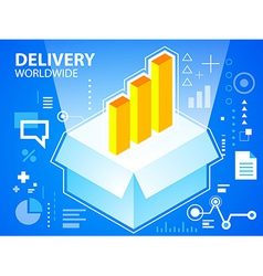bright delivery box and bar chart on blue ba vector image